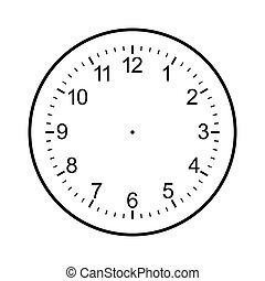 reloj, aislado, cara, plano de fondo, blanco, blanco