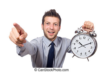 reloj, aislado, fecha tope, encontrar, blanco, tratar, ...