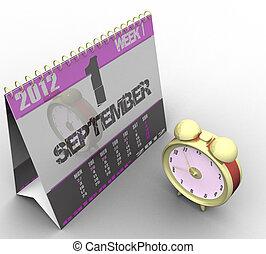 reloj, alarma, aislado, plano de fondo, blanco, calendario, 3d