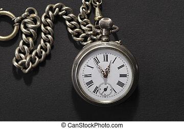 reloj antiguo del bolsillo, con, cadena