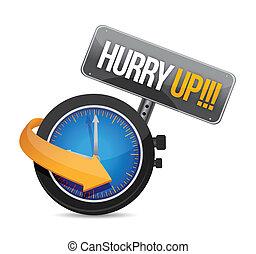reloj, arriba, ilustración, diseño, mensaje, apuro