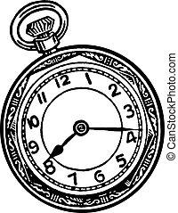 reloj, blanco, parada, negro