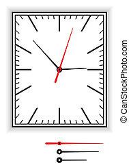 reloj, cara rectangular