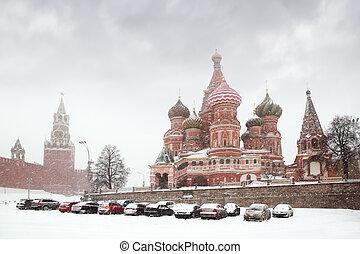 reloj, coche, invierno, spasskaya, nevada, moscú, sonar, estacionamiento, durante, torre, kremlin, rusia
