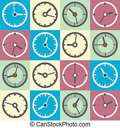 reloj, colorido, iconos