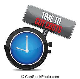 reloj, con, palabras, tiempo, cortar, costes