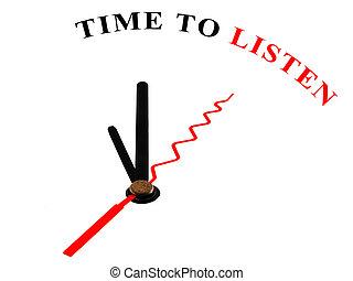 reloj, con, palabras, tiempo, para escuchar