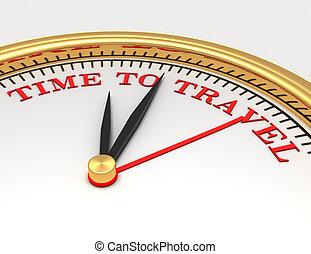 reloj, con, palabras, tiempo, para viajar, en, cara