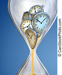 reloj de arena, reloj de tiempo, con, arena
