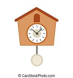 reloj de cuco de madera, vendimia, icono, estilo, plano