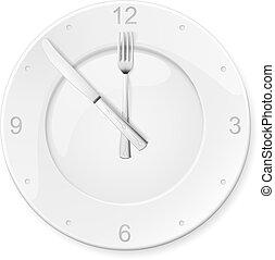 reloj, de, el, placas, y, tenedores, cucharas