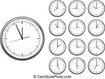 reloj de la oficina, pared, set., cada, hours., actuación, icono