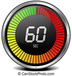 reloj de parada, 60s, digital