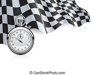 reloj de parada, bandera