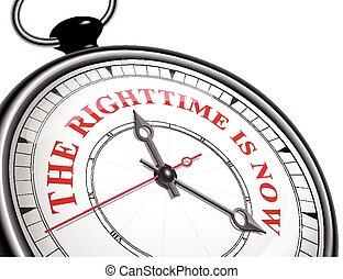reloj de tiempo, derecho, ahora, concepto