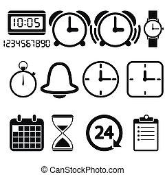 reloj de tiempo, iconos