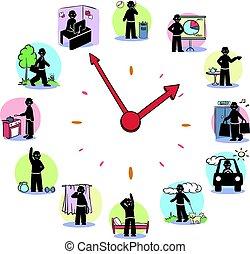 reloj, diario, concepto, caracteres, rutina