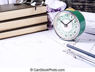 reloj, dibujo, anteojos, retro, varios, herramientas, acostado, dibujos