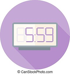 reloj digital, plano, diseño, icono