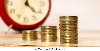 reloj, dinero, alarma, coins, -, ahorros, tiempo