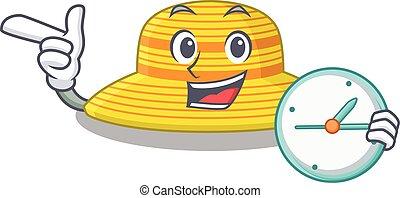 reloj, diseño, sombrero, verano, posición, tenencia, estilo, mascota