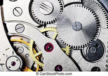 reloj, engranajes, cicatrizarse
