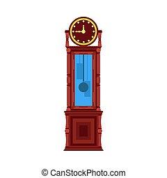 reloj, ilustración, vendimia, piso, interior, antigüedad, muebles, room., vector, viejo, hogar, retro, diseño, estilo