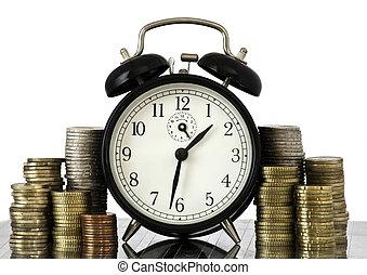 reloj, lotes, dinero, alarma, coins, tiempo, concept:, euro