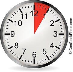 reloj, minuto, fecha tope, 5, rojo