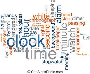 reloj, palabra, nube