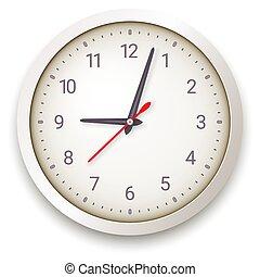 reloj, pared, plano de fondo, blanco, moderno, cuarzo