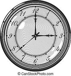 reloj, reloj, vendimia, o