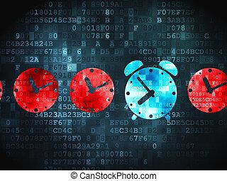 reloj, timeline, alarma, plano de fondo, digital, concept: