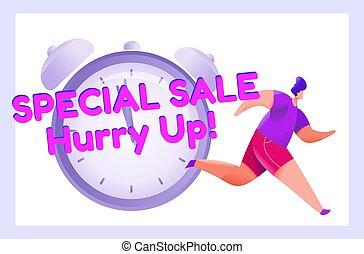 reloj, tracksuit, hombre, corre, discounts., llamada, action., publicidad, bandera, alarma