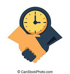 reloj, trato hecho, reloj, apretón de manos
