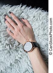 reloj, wrist., muñeca, hembra