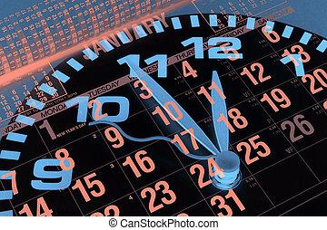 reloj, y, calendario