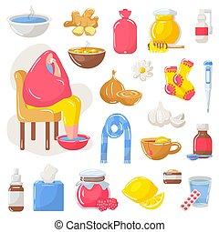 remèdes, maison, vecteur, isolé, traitement, grippe, set., illustration, saison