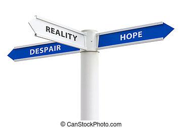 remény, és, kétségbeesés, útkereszteződés cégtábla