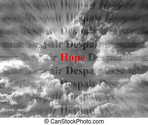 remény, és, kétségbeesés