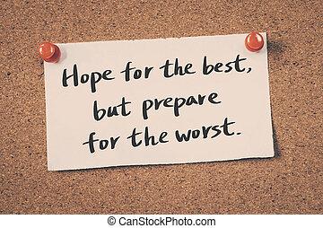 remény, worst., kivéve, előkészít, legjobb