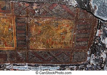 Remains ceiling painting of Nymphs dancing in the ...
