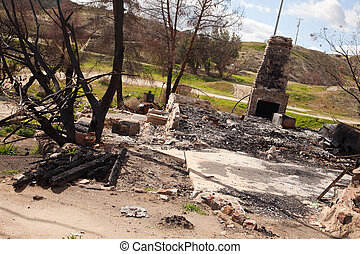 Remains of a Burned Down House with Brick Fireplace Standing...