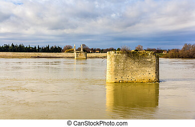 Remains of a railway bridge in Arles - France, Provence-Alpes-Co