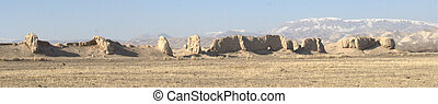 Remains of a Silk road caravanserai - Panorama of the...