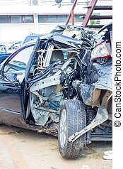 Remains of a wrecked car after a serious car crash
