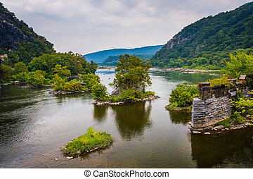 Remains of an old bridge over the Potomac River in Harper's Ferry, West Virginia.