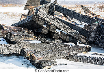 Remains of Burnt Wooden Construction.
