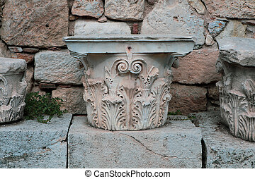 Remains of Corinthian Column in Roman Agora in Athens,...