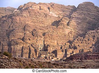 remains of nabatean city Petra in Jordan - ancient city,...